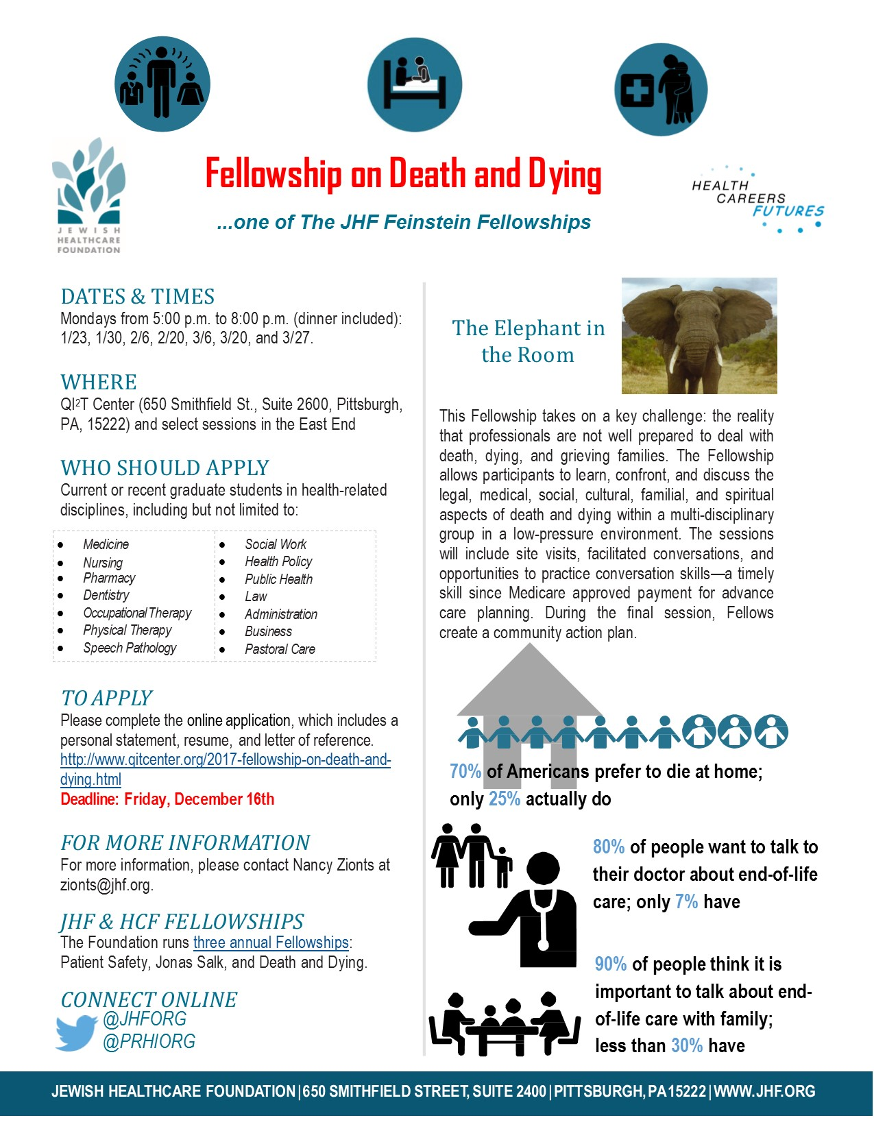 JHF Fellowship on Death and Dying Announcement – Applications Due by 12/16